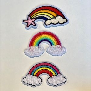 Rainbow Iron on Embroidery Patch Bundle 3 Patches